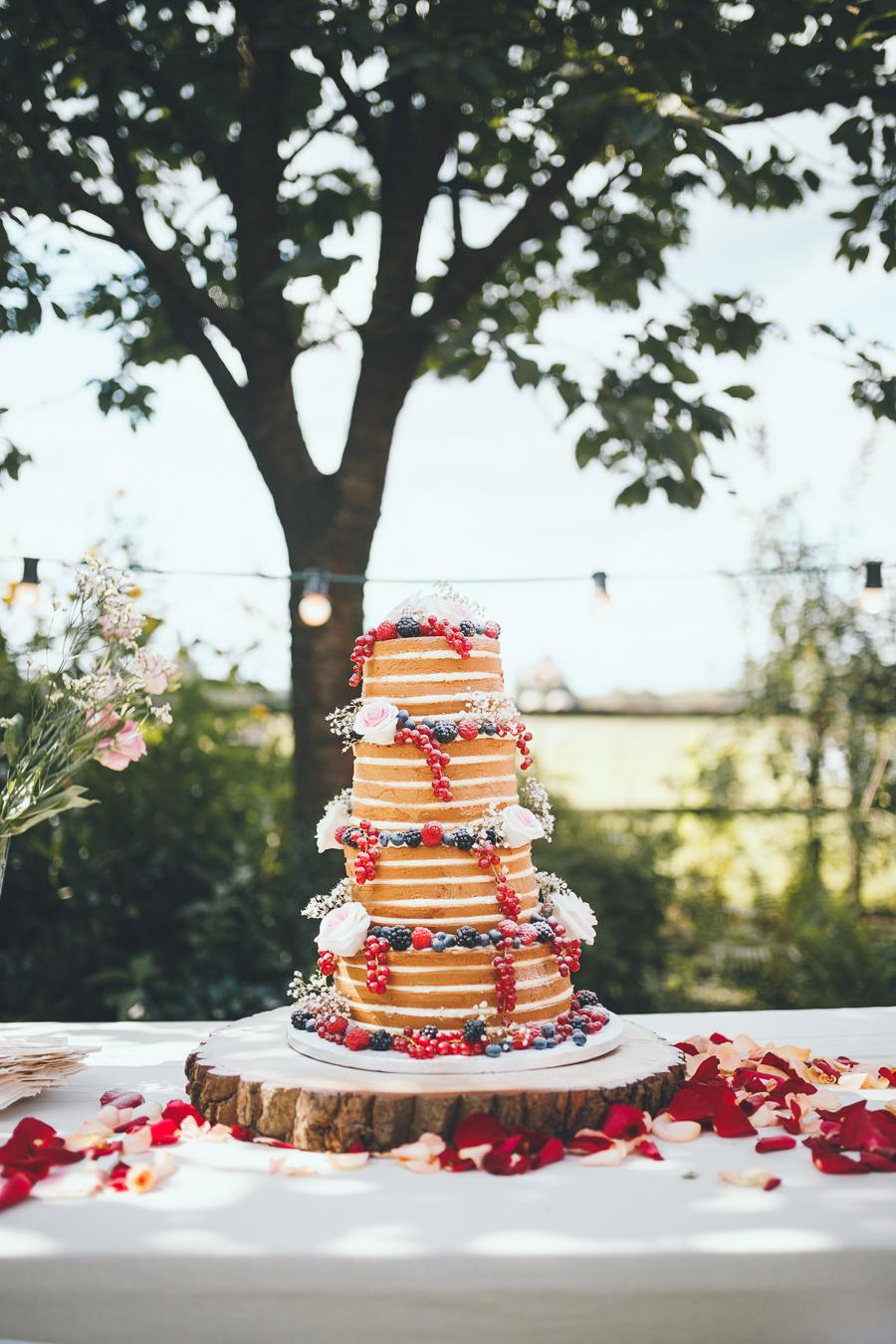 Bruidstaart met vier lagen en rozen en rood fruit staat op een boomstam op een tafel in de achtertuin tijdens bruiloft thuis op erf van oude boerderij trouwfotograaf Apeldoorn
