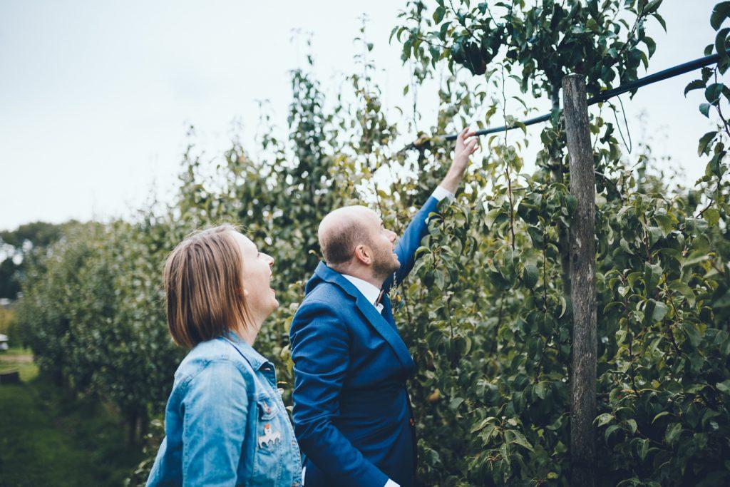 Bruid en bruidegom plukken fruit tijdens bruiloft in fruittuin trouwfotograaf Amsterdam Apeldoorn
